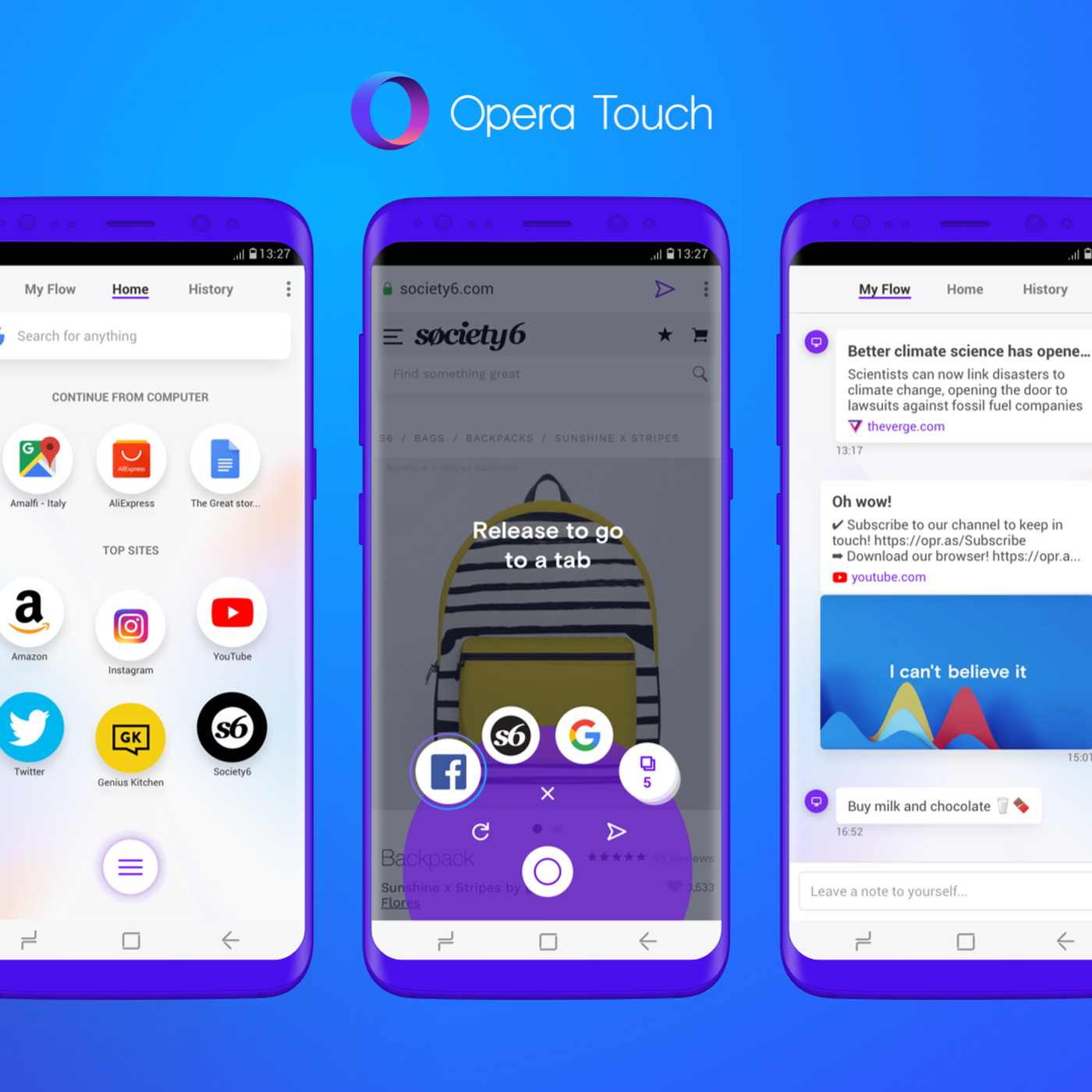 Opera Touch is a new Android browser tailored for one-handed