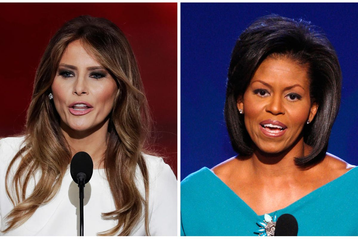 In this combination of photos, Melania Trump, left, wife of Republican Presidential Candidate Donald Trump, speaks during the opening day of the Republican National Convention in Cleveland, Monday, July 18, 2016, and Michelle Obama, wife of Democratic pre