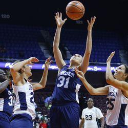 Carla Berube battles for a rebound.