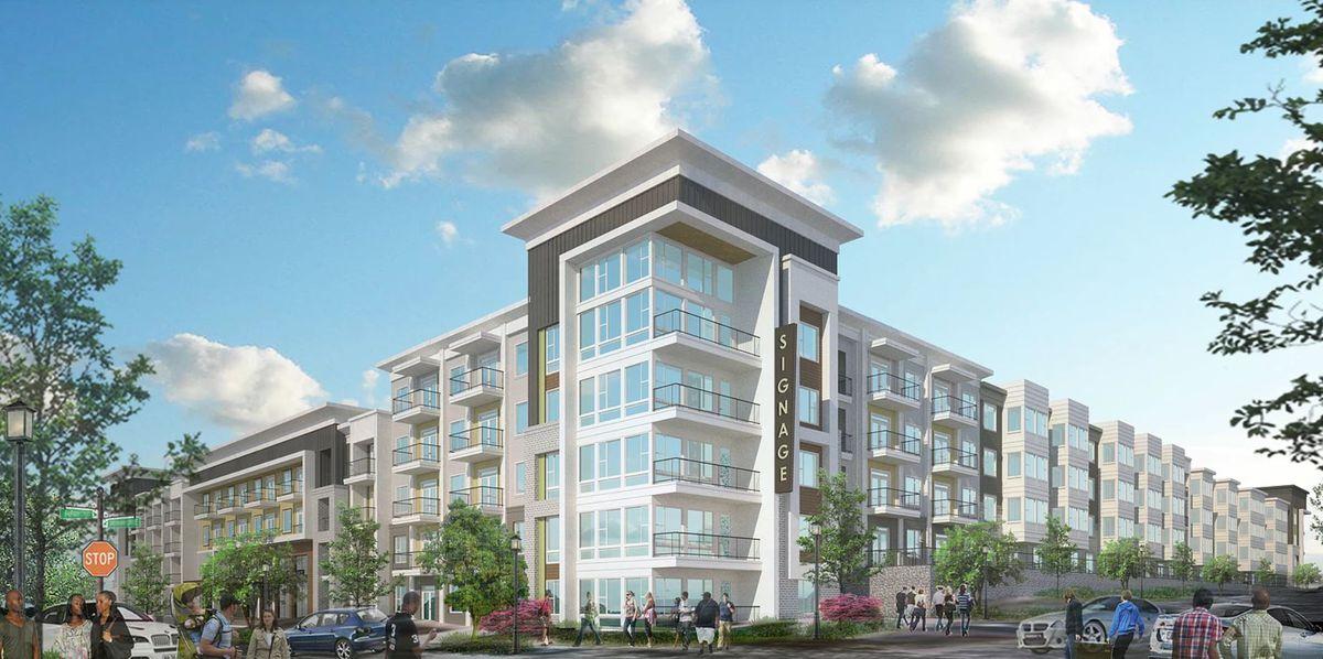 A modern five-story mixed-use development.