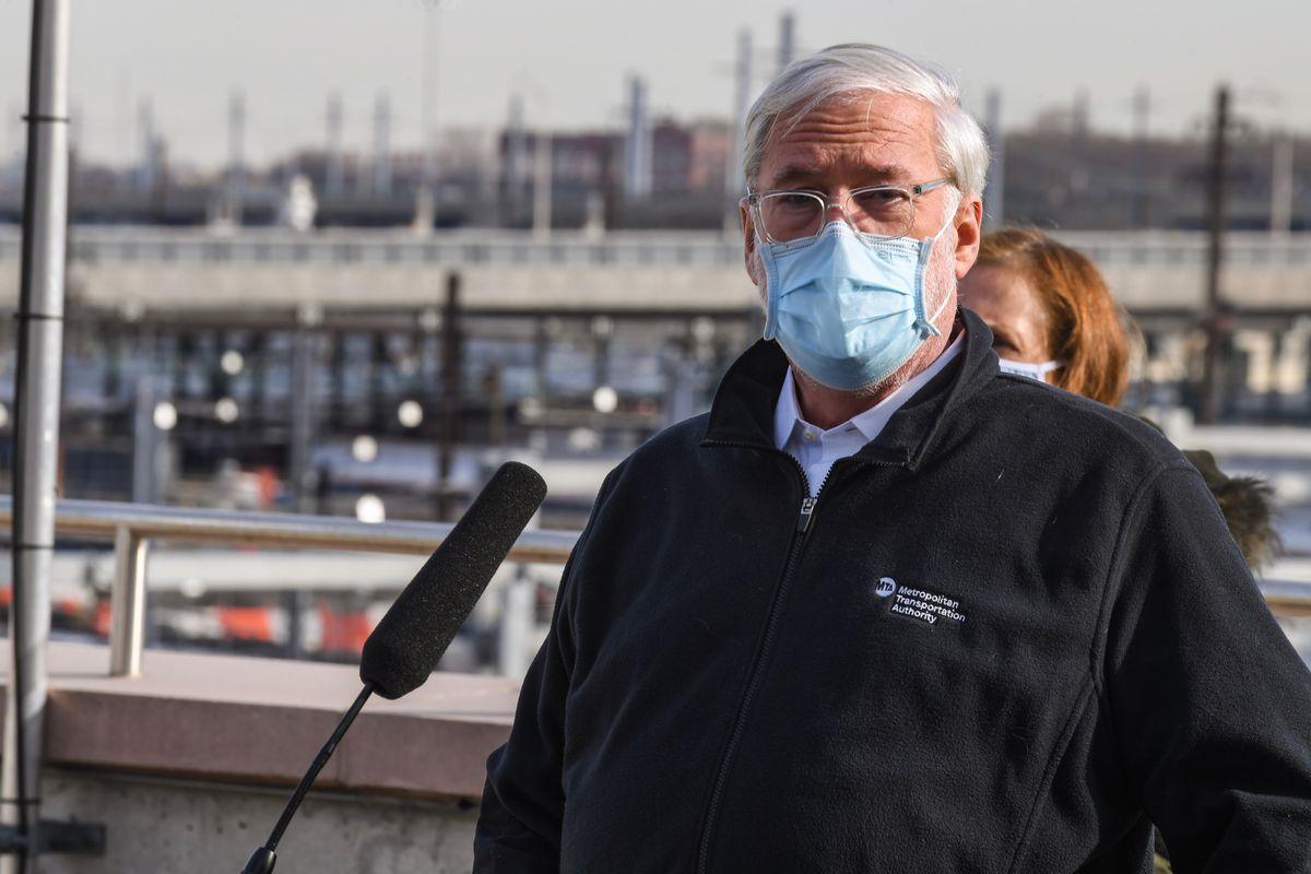 MTA Chairman Patrick Foye in Long Island City, Queens, Dec. 23, 2020,