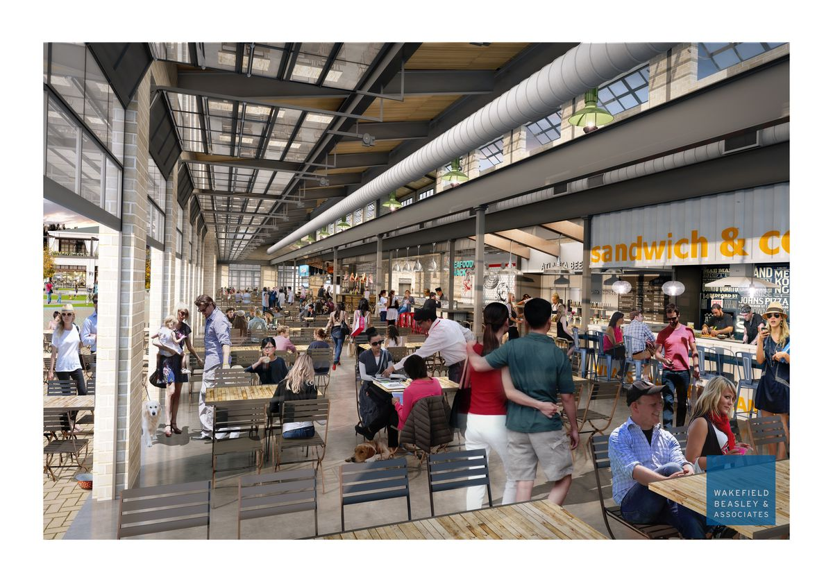 An interior rendering of Halcyon's market hall.