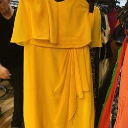 Badgley Mischka yellow peacock chiffon dress, $54 (was $422)