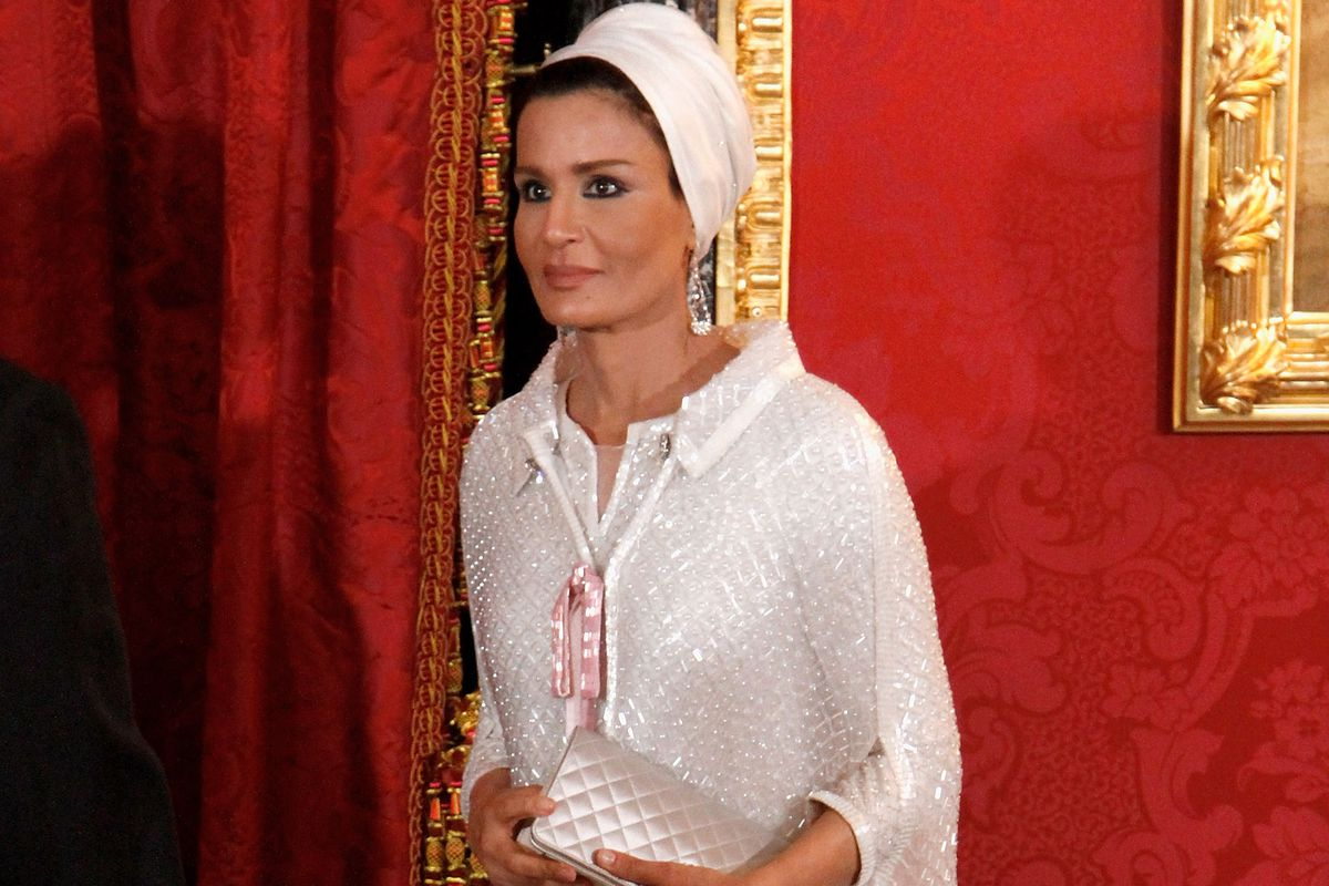 Sheikha Moza Bint Nasser Al-Missned attends a Gala Dinner honouring of the Emir of the State of Qatar Sheikh Hamad Bin Khalifa Al-Thani at the Royal Palace on April 25, 2011 in Madrid, Spain.
