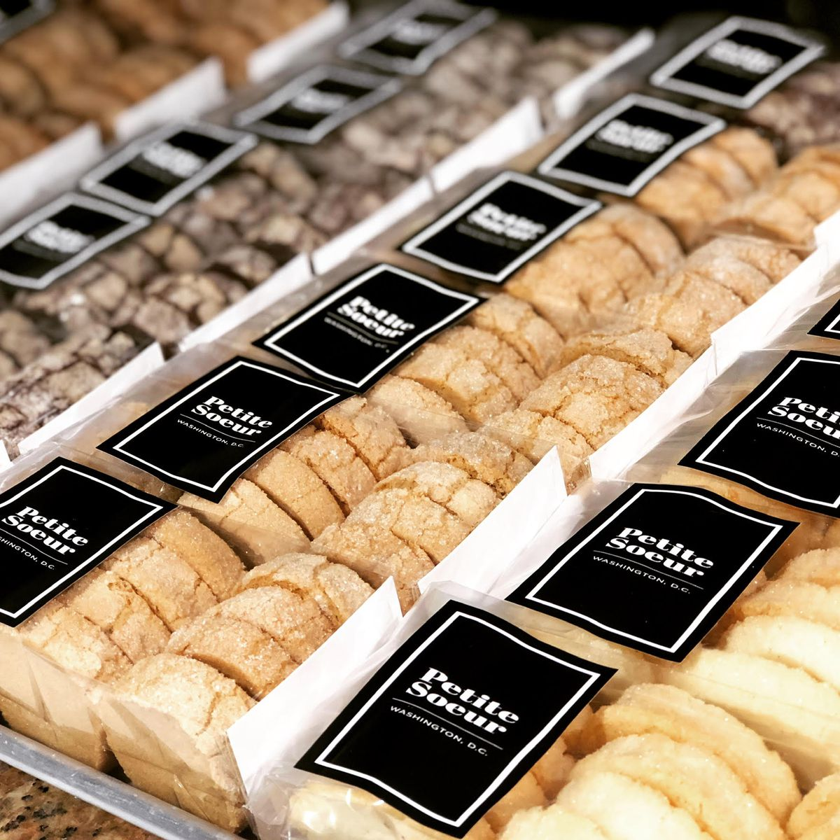 Sleeves of packaged French butter cookies