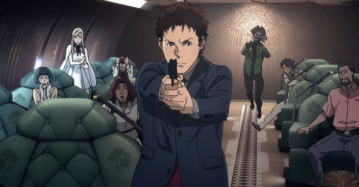 Hathaway Noa aims a firearm aboard a spacecraft in Mobile Suit Gundam Hathaway