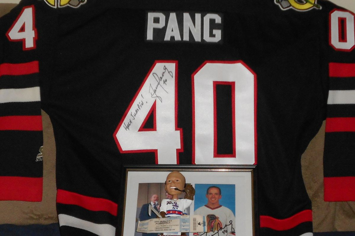 Chicago Blackhawks jersey signed by Darren Pang, Pang bobblehead from the Milwaukee Admirals, signed Blackhawk postcard circa 1987