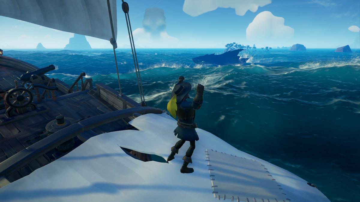 A meglaodon challenges a pirate sloop