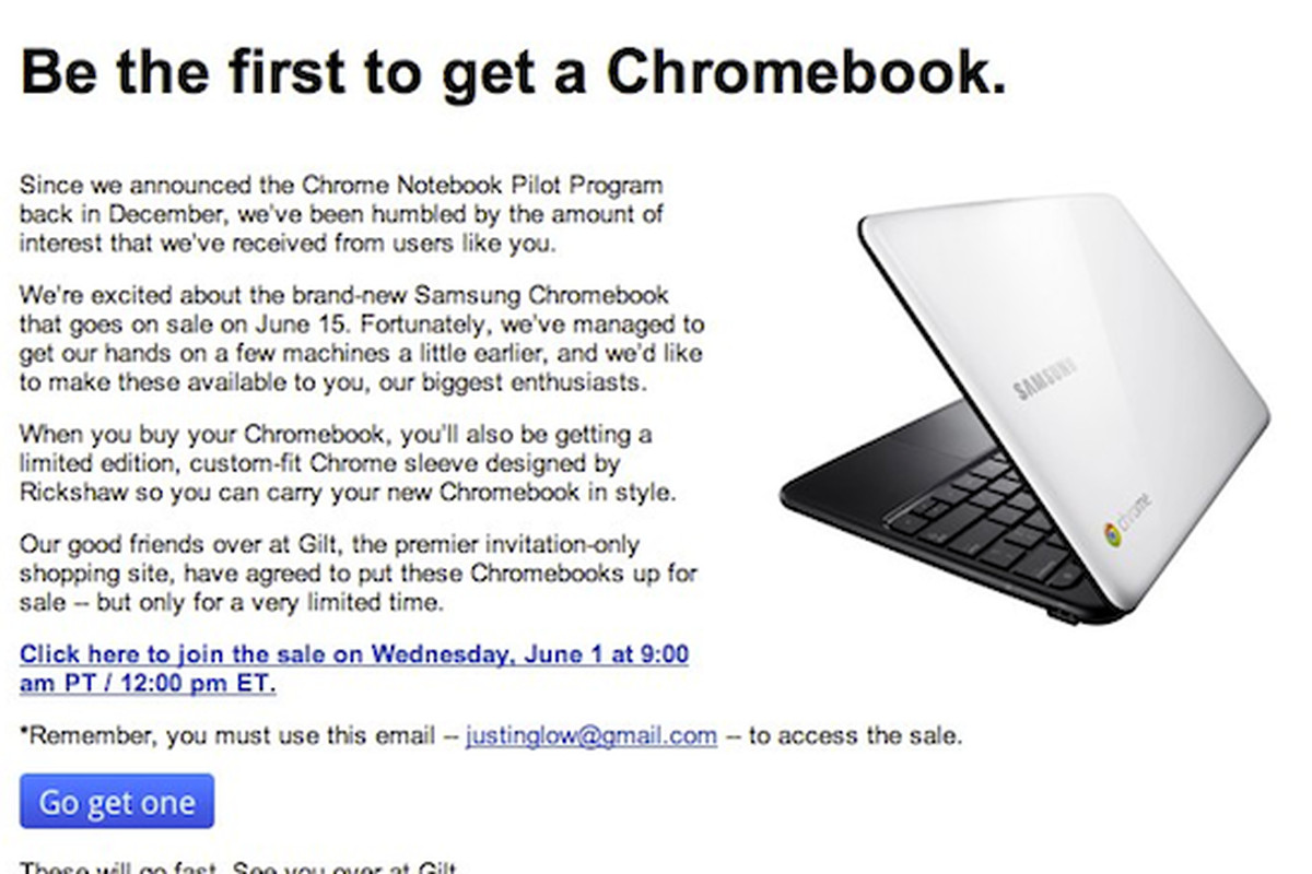 Samsung Series 5 Chromebook on sale to a lucky few at Gilt