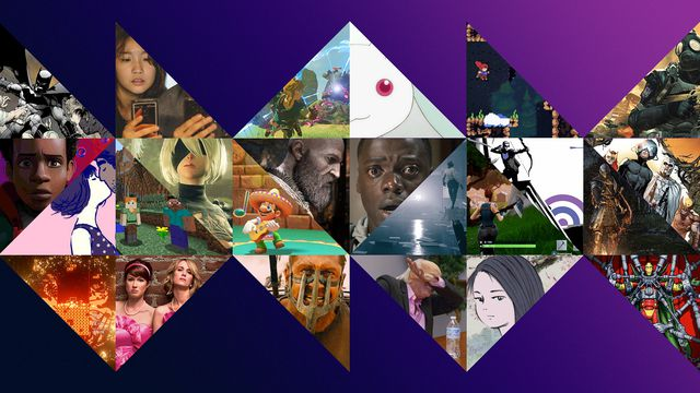 a collage with triangular images featuring various movies, video games, TV shows, and comics from the 2010s