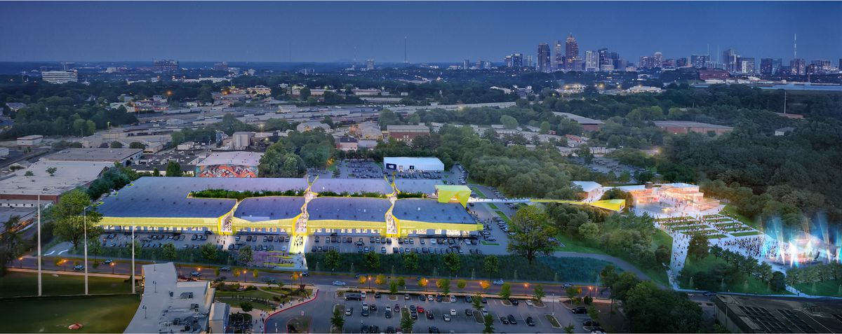 """A rendering shows bamboo shooting out of the """"fissures"""" at the complex, which is grey and wrapped in a yellow ribbon of awnings. A possible later phase of the project could link Radio.1611 to an amphitheater by way of a tree-covered walkway."""