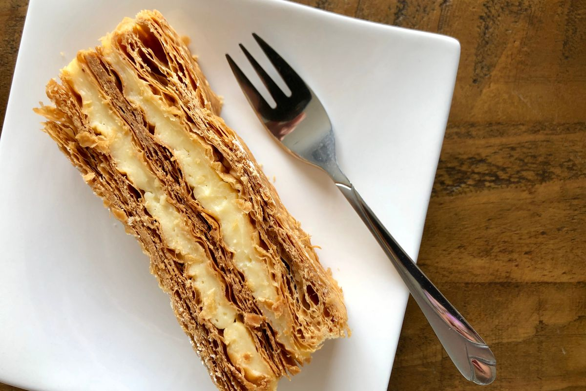 Mille-feuille on a plate