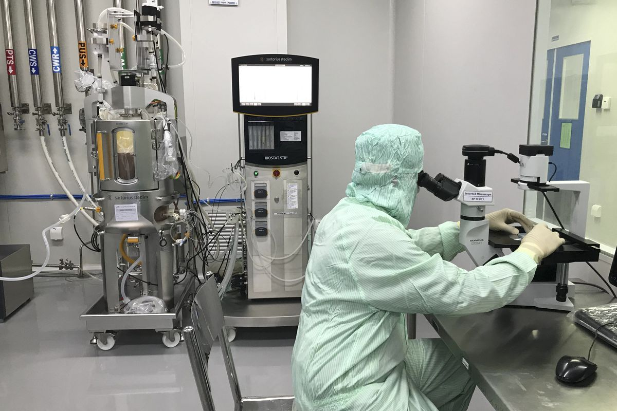 A member of production checks cell growth and viability of a bioreactor sample under an inverted microscope inside the Incepta plant on the outskirts of Dhaka in Bangladesh Saturday Feb. 13, 2021.