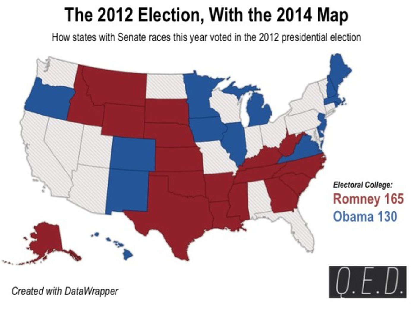If the 2012 election was only in the states voting for ...
