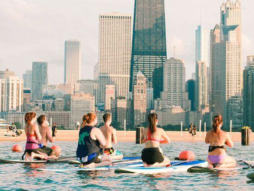 Yoga at North Avenue Beach   Chicago SUP website