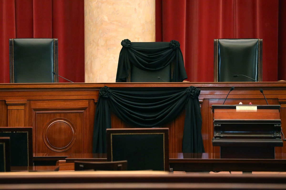 Justice Antonin Scalia's chair draped in black.