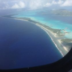 Just about to land in <b>Bora Bora</b>! The airport had its own island and we took a boat to our next destination.
