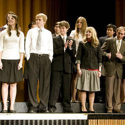 Finalists in the English category take the stage at Cottonwood High School during the Sterling Scholar awards ceremony on Wednesday night.