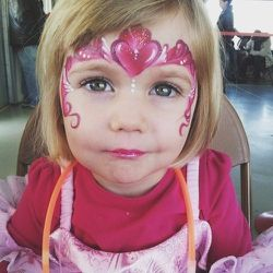 This is the cutest little heart princess ever. This was her first time being painted! Love her!