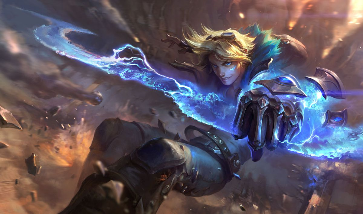 Ezreal fires off shots from his gauntlet while falling in rubble