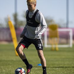 Real Salt Lake's Jeizon Ramirez trains during the first day of voluntary individual training at the RSL Academy on Thursday, May 7, 2020.