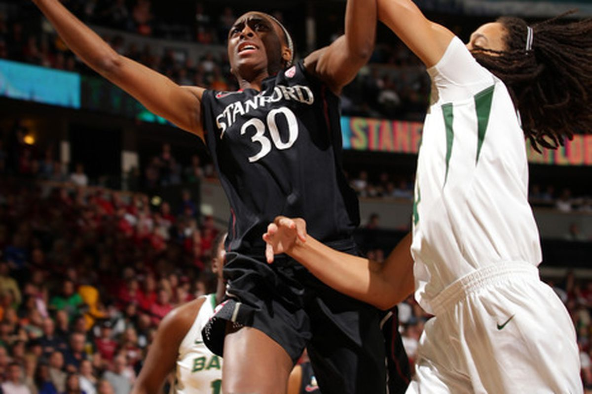"""Nneka Ogwumike drives against Baylor's Brittney Griner. """"We were too worried about her,"""" Ogwumike said."""