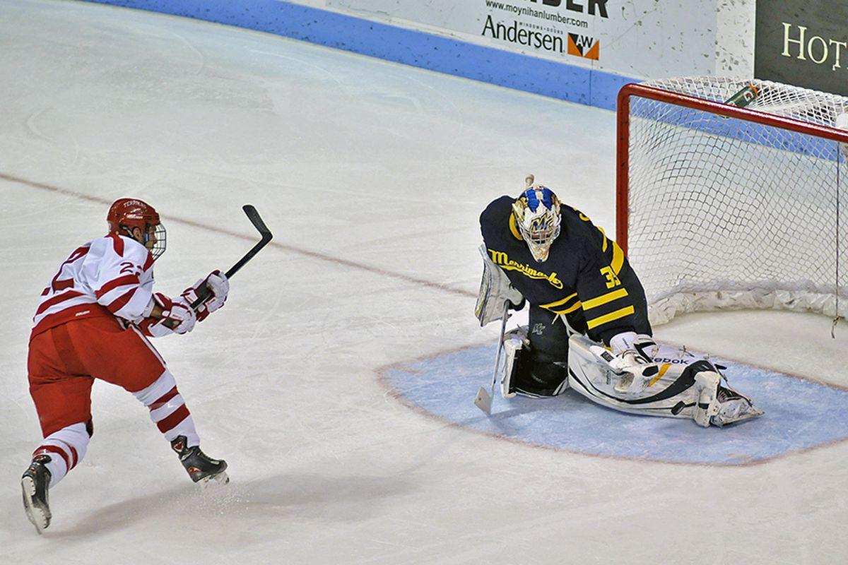 Boston University's men's hockey team faces Hockey East rival Merrimack. (Photo by Walter Rossini).