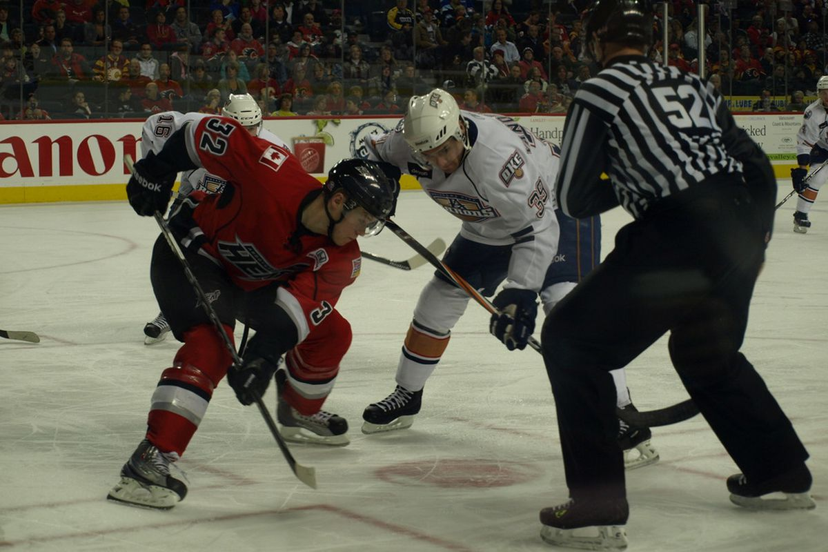 Chris VandeVelde, doing his job, taking faceoffs in the Calgary Saddledome against the Abbotsford Heat. Photo by Lisa McRitchie all rights reserved.