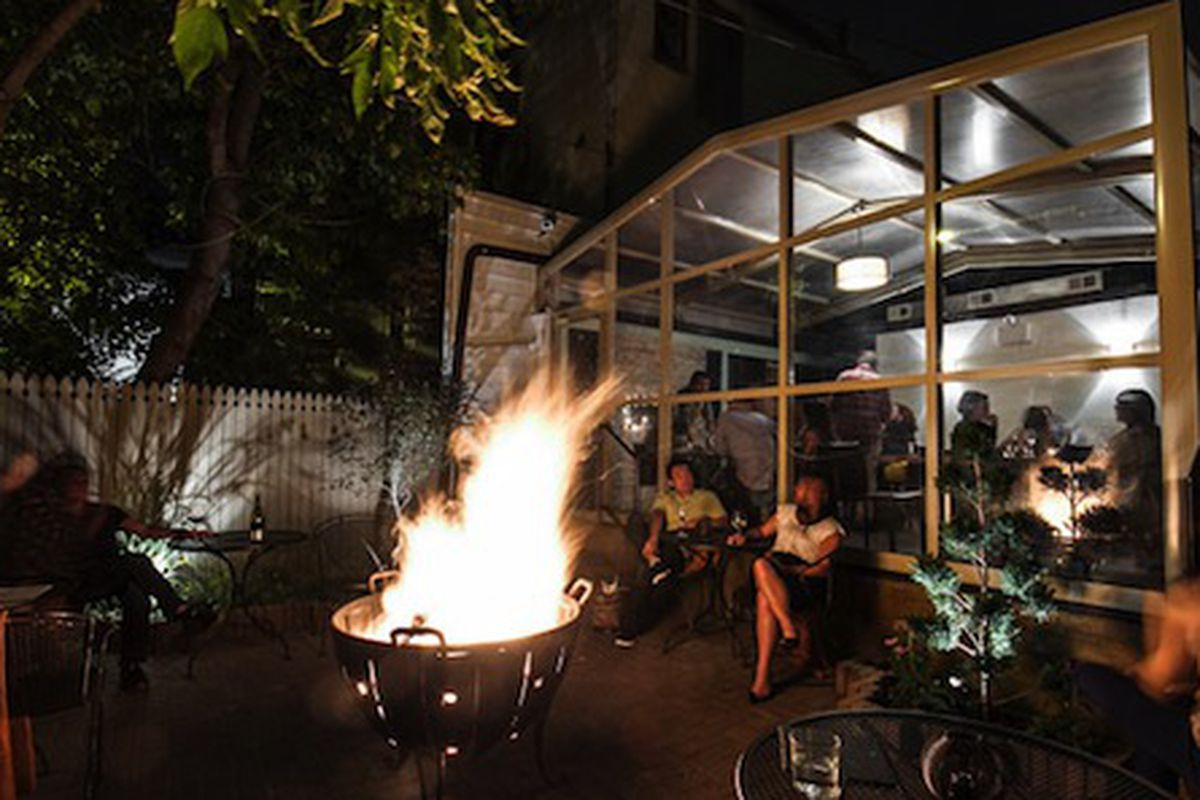 The new garden patio and fire pit at Bonsoiree