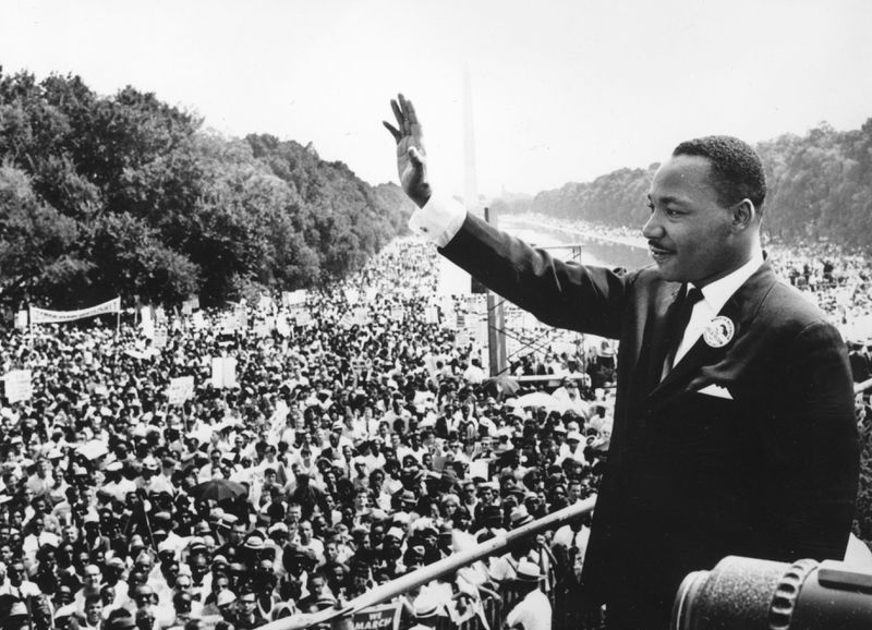 """Martin Luther King Jr. during his renowned """"I Have a Dream"""" speech."""