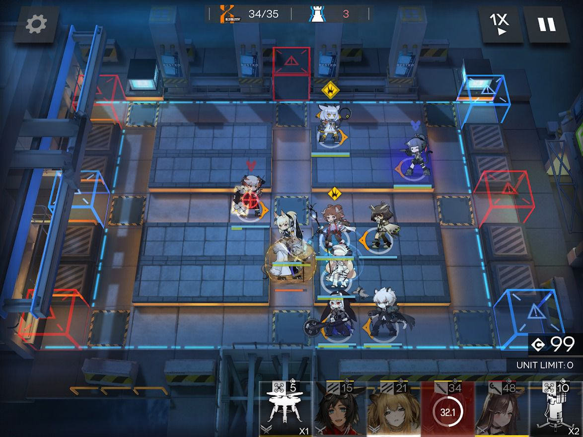 A variety of Arknights characters stand on the map, blocking, healing, and trying to take down a rat king enemy