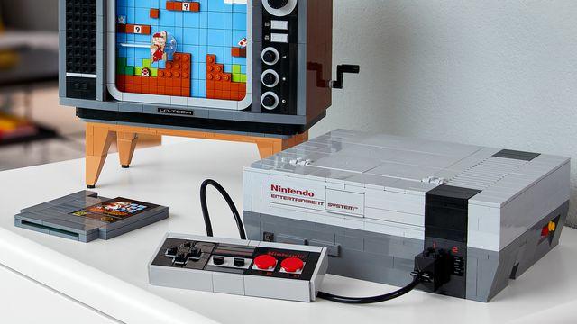A lifestyle photograph of the Lego Nintendo Entertainment System set