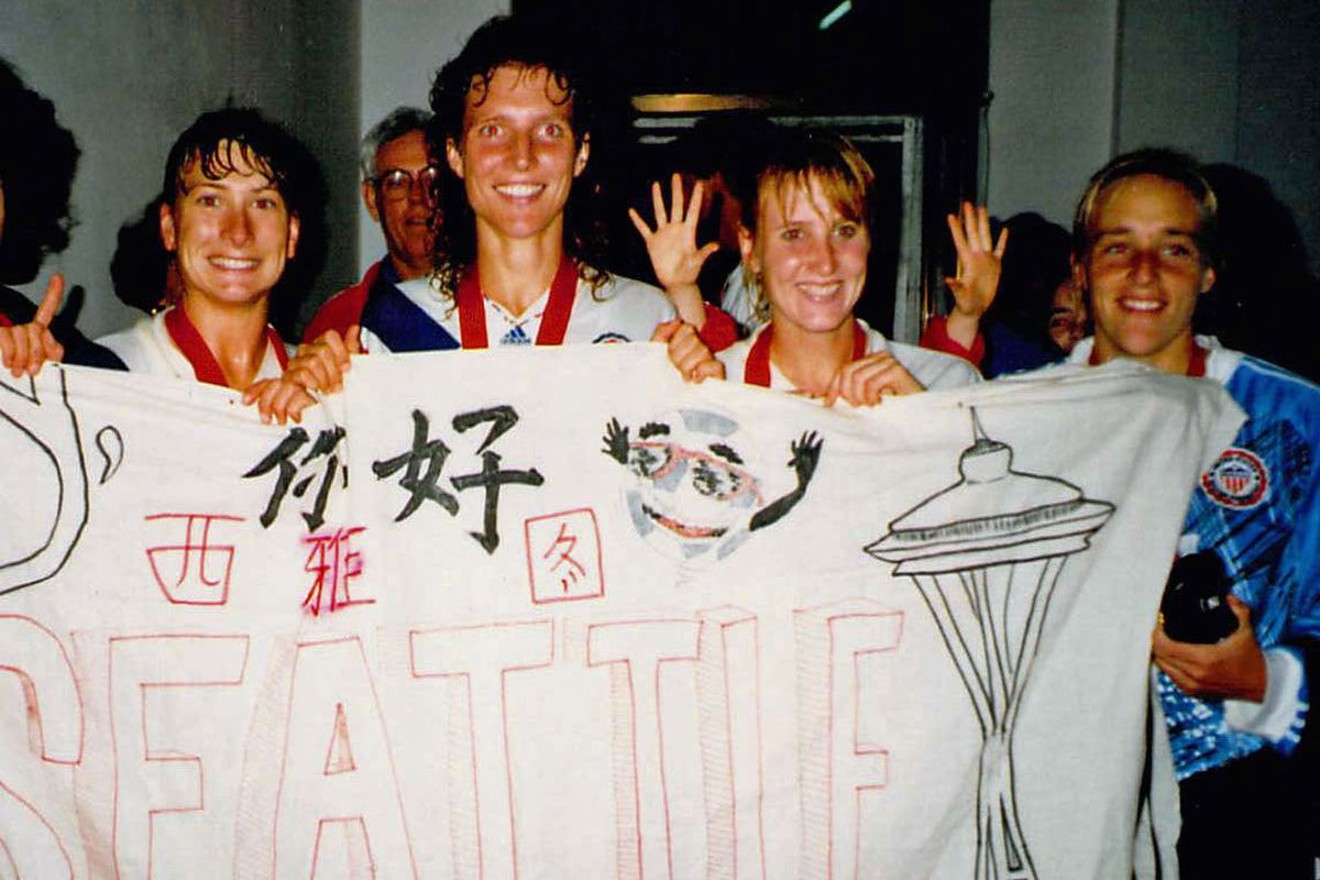1991 USWNT members, from left, Washingtonians Lori Henry, Michelle Akers, Shannon Higgins and Amy Allmann