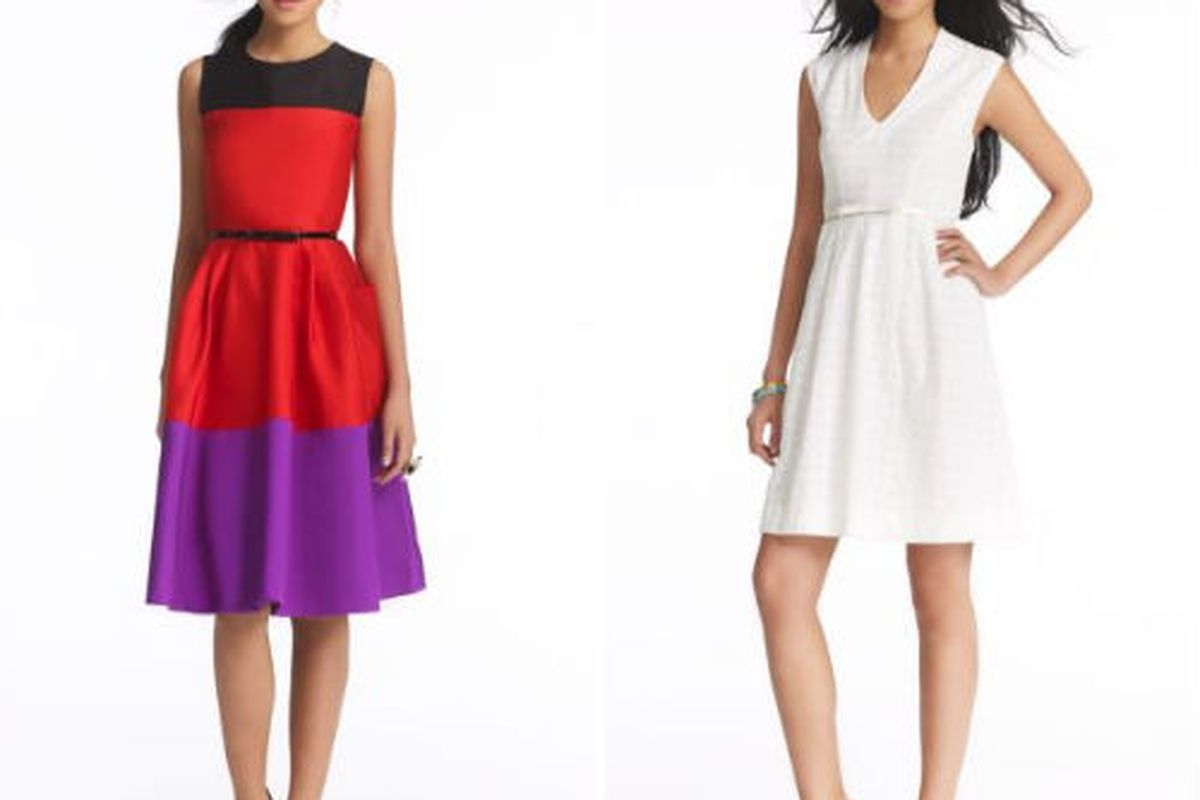 """Wild Card Zahara dress for $373.50 (was $498.00) and the Cotton Brittany dress for $283.50 (was $378.00), via <a href=""""http://www.katespade.com/designer-clothing/designer-dresses-and-skirts/act-three-silverscreen-dress/NJMU1695,default,pd.html?dwvar"""