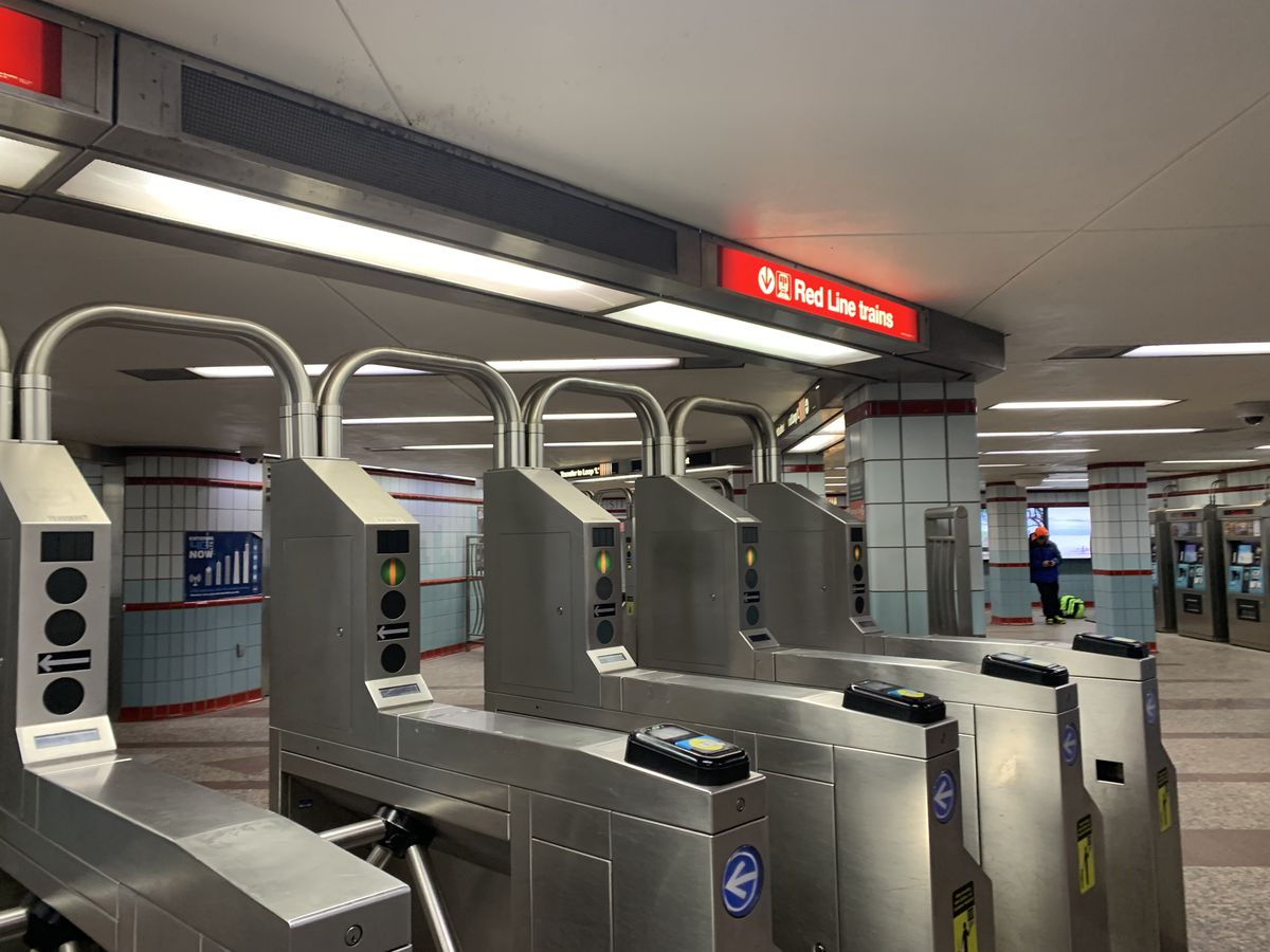 Turnstiles at the Lake station on the CTA's Red Line in the Loop.