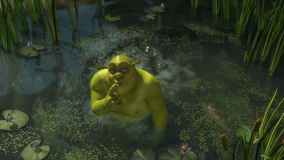 shrek after farting in his swamp