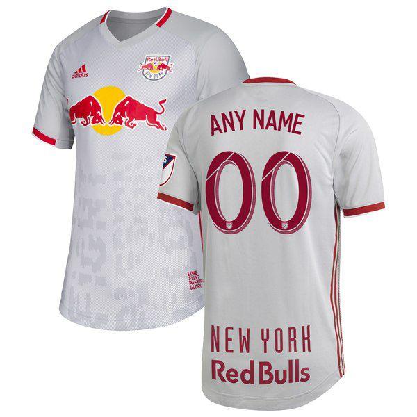 "9755dc73863 New York Red Bulls 2019 Primary ""Glitch Kit"" Authentic Custom Jersey for   149.99 Fanatics"
