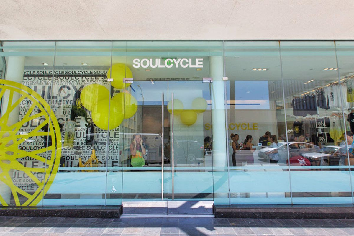 """SoulCycle's <a href=""""http://la.racked.com/2013/9/17/7648677/soulcycles-bright-and-beautifu#4481078"""">Beverly Hills studio</a>."""