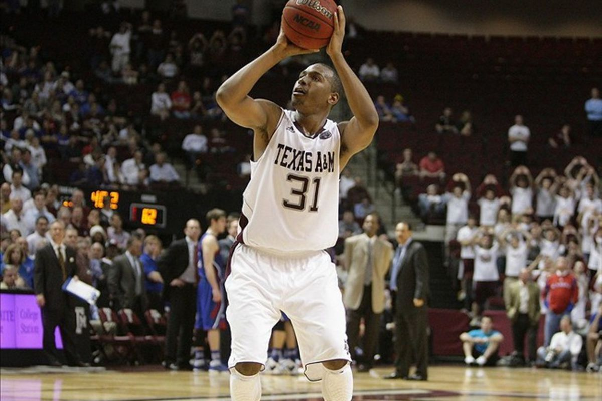 February 22, 2012; College Station, TX, USA; Texas A&M Aggies guard Elston Turner (31) shoots a free throw after a technical foul in the second half against the Kansas Jayhawks at Reed Arena. Mandatory Credit: Troy Taormina-US PRESSWIRE