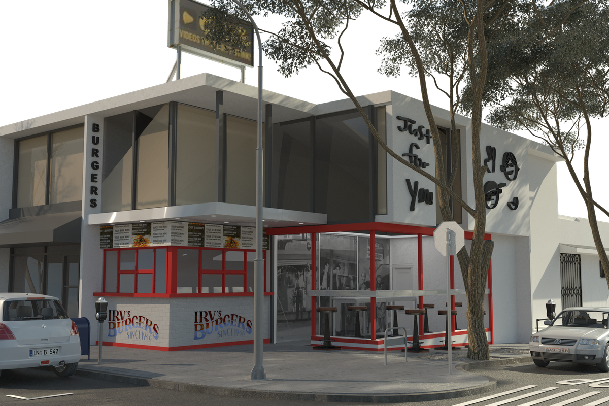 A rendering of a corner restaurant location with stools and a window that opens onto the street.
