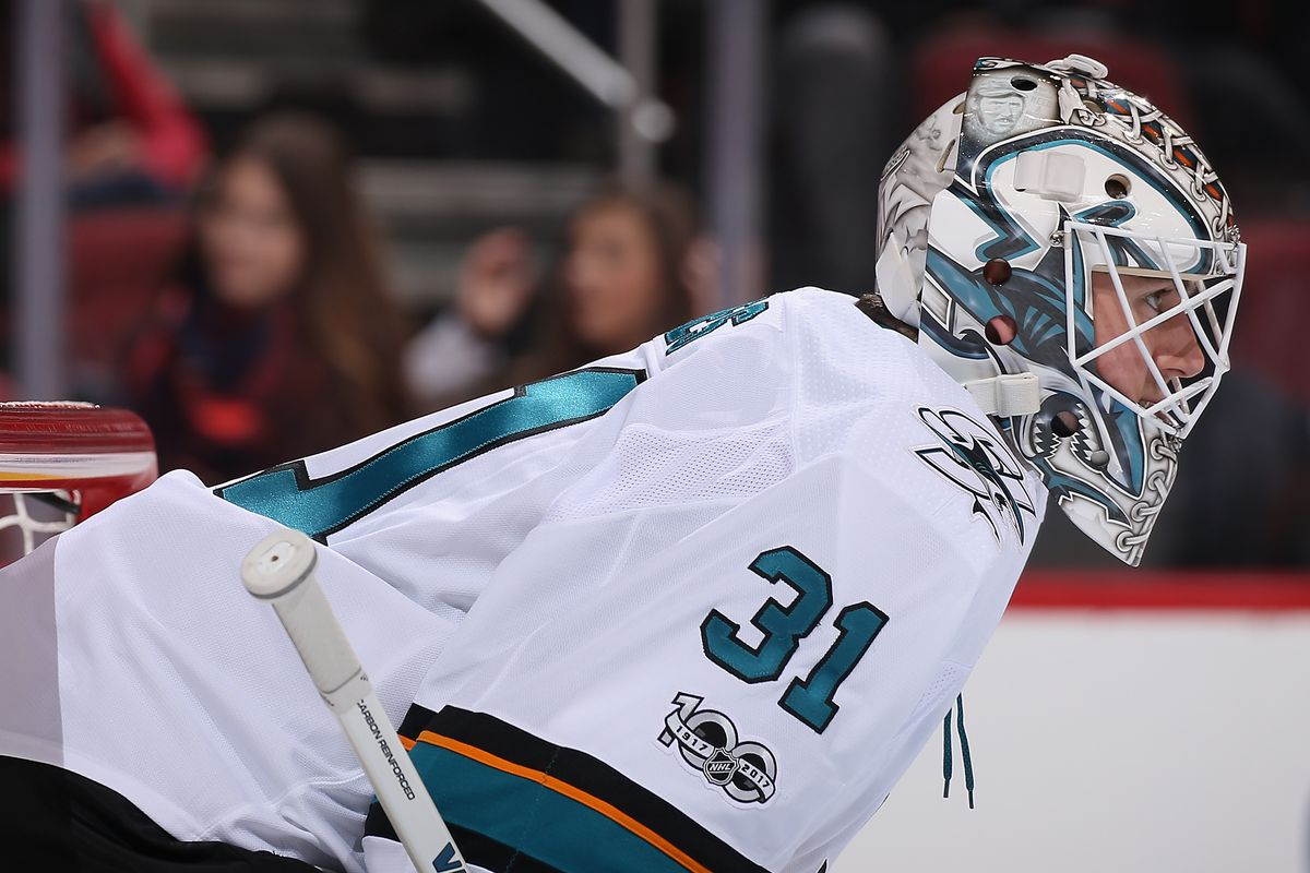 Goaltender Martin Jones #31 of the San Jose Sharks in action during the first period of the NHL game against the Arizona Coyotes at Gila River Arena on November 22, 2017 in Glendale, Arizona. The Sharks defeated the Coyotes 3-1.