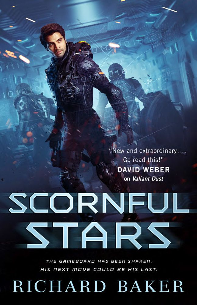 Scornful Stars cover: a sleek hero stands on a spaceship in his spacesuit