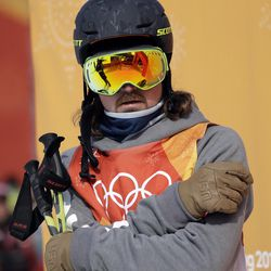 McRae Williams, of the United States, waits for his score during the men's slopestyle qualifying at Phoenix Snow Park at the 2018 Winter Olympics in Pyeongchang, South Korea, Sunday, Feb. 18, 2018.