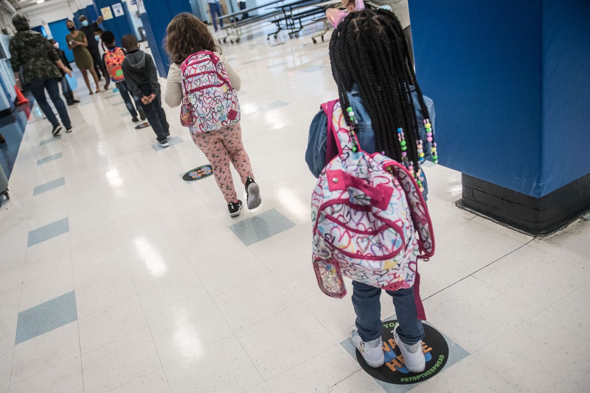 Socially distanced students on the first day of school last year at P.S. 188 in Manhattan. Sept. 29, 2020.