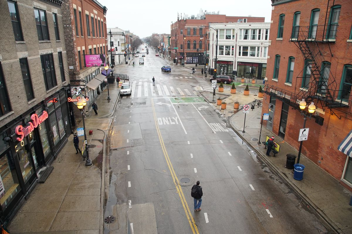 The intersection of Damen and Milwaukee Avenues, as seen from the Damen platform on the CTA Blue Line on March 27, 2020.