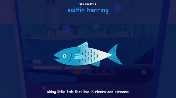"""a sailfin herring illustration with the text: """"shiny little fish that live in rivers and streams"""""""
