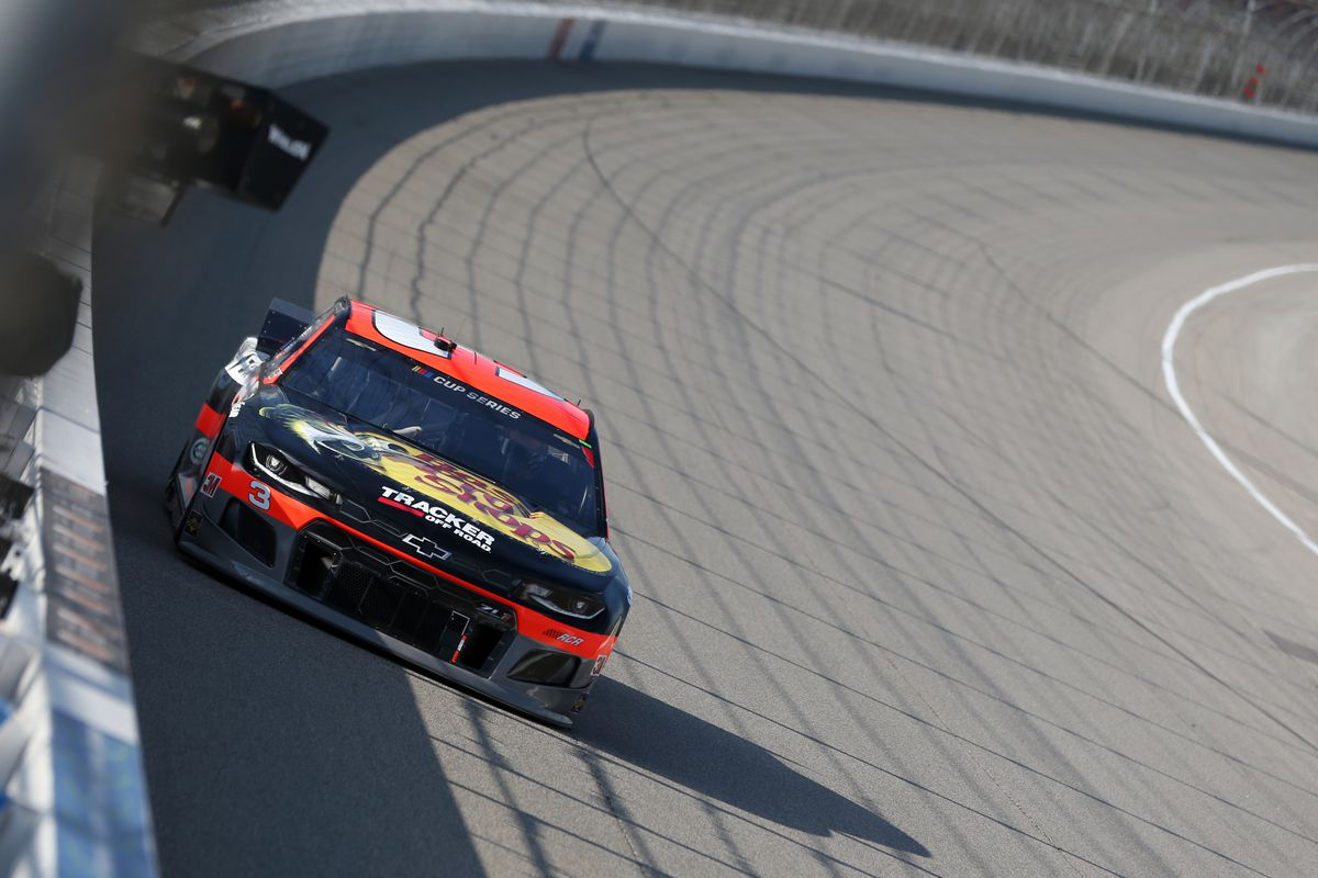 Austin Dillon, driver of the #3 Bass Pro Shops/Tracker Off Road Chevrolet, drives during the NASCAR Cup Series Consumers Energy 400 at Michigan International Speedway on August 09, 2020 in Brooklyn, Michigan.