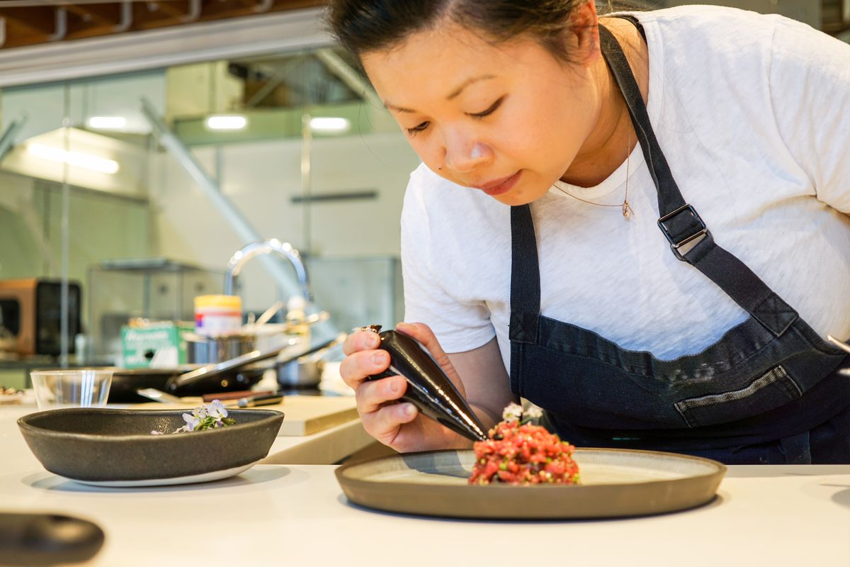 Mei Lin plating beef tartare at 3D Systems on Melrose
