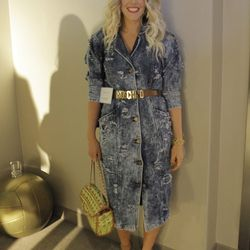 """Only Beth Jones of <a href=""""http://www.bjonesstyle.com/blog/""""target=_blank"""">B. Jones Style</a> make a statement in Moschino and acid wash."""