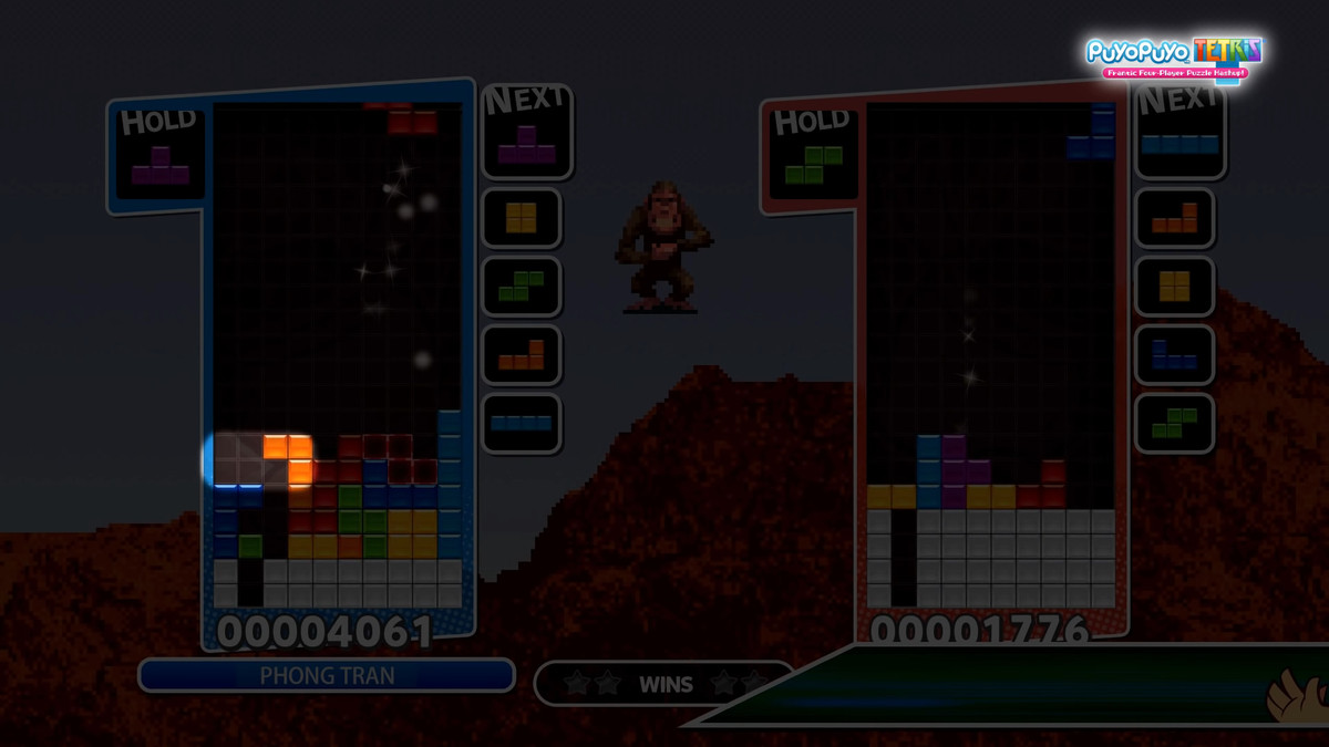 showing off the T-Spin triple overhang in Tetris